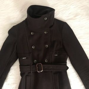 BCBGMaxAzria Jackets & Coats - BCBGMaxAzaria Small Brown Wool Belted Funnel Coat